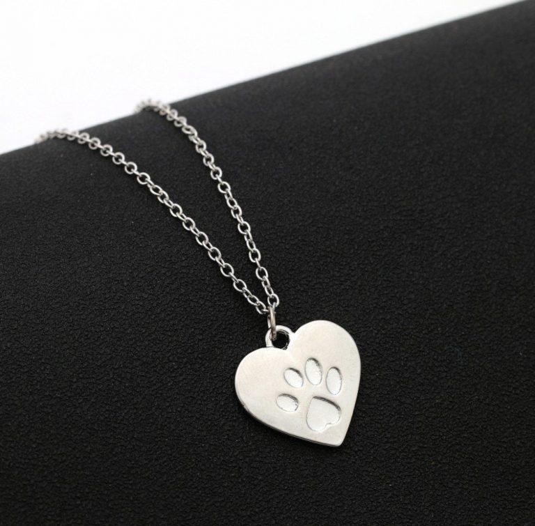 silver hjärta tass halsband