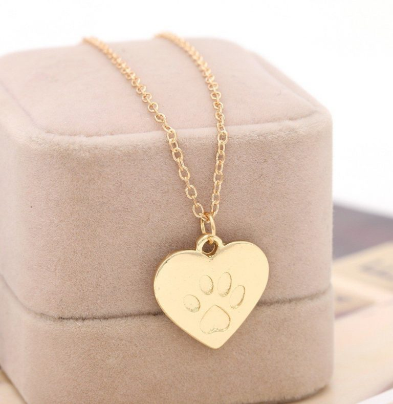 guld hjärta tass halsband