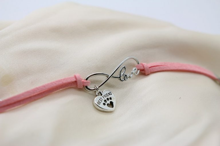 Rosa Best friends läder tass halsband