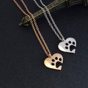 Hjärta med ihålig tass halsband