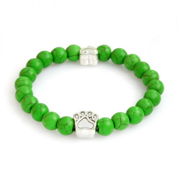 Tass grön marmorsten armband