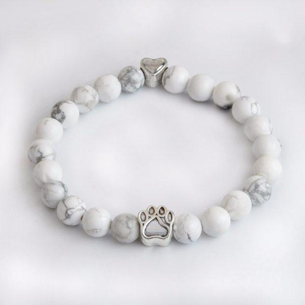 Tass vit marmorsten armband