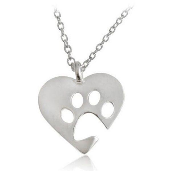 Hjärta Ihålig tass halsband silver