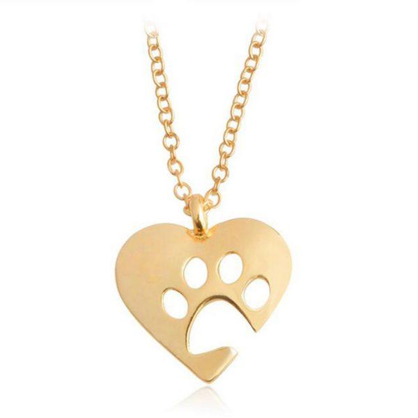 Hjärta Ihålig tass halsband guld