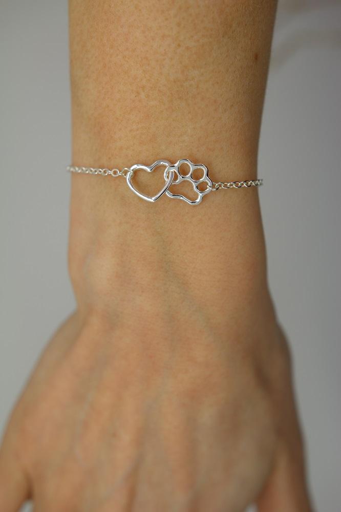 Tass armband hjärta tass silver