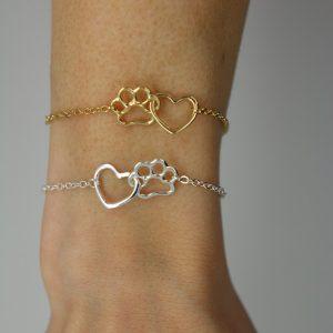 Tass armband hjärta tass guld silver
