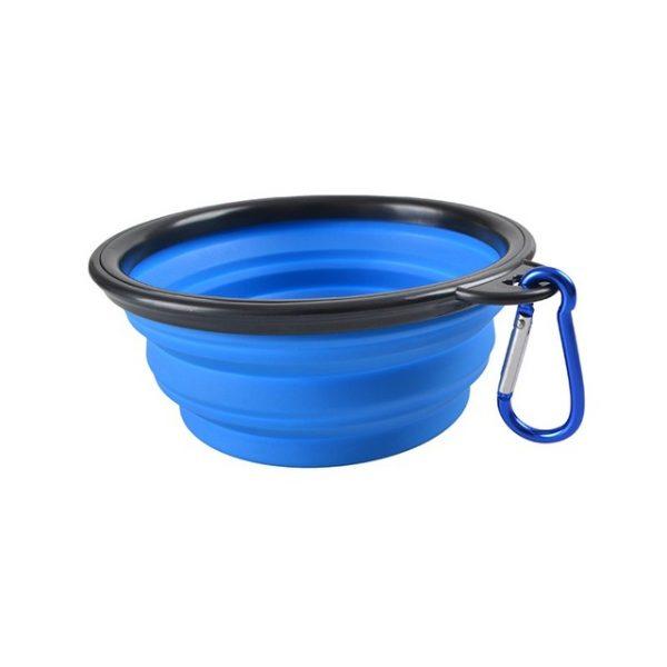 Blå silikon vattenskål