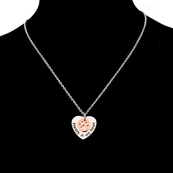 bobauna Always in My Heart Paw Print Love Heart Pendant Necklace Memorial Gift for Women Girls B07H1BQ34Z_3